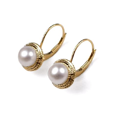 anzor jewelry 14k yellow gold 6mm white pearl earrings