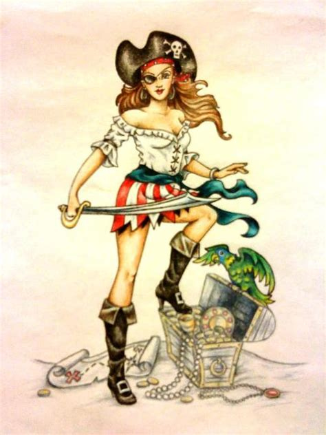 Tattoo Pirate Cartoon | pirate pinup cartoons pirate pin up girl by