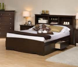 Platform Bed With Bookcase Headboard Prepac Platform Storage Bed W Bookcase Headboard By Oj