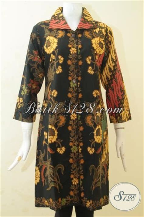 Kain Batik Print Modern Parang Bunga pakaian kerja perempuan dewasa masa kini baju batik blus