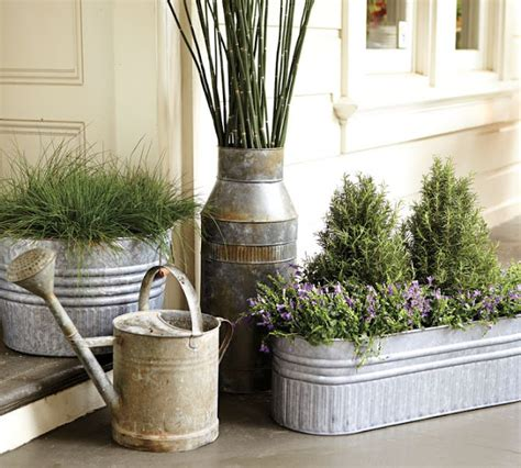 galvanized metal tubs buckets pails as planters