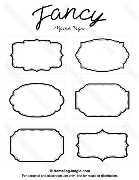 fancy card shape template printable fancy name tags