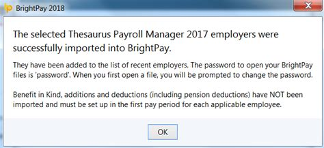 thesaurus confirmation importing from thesaurus payroll manager 2017 brightpay