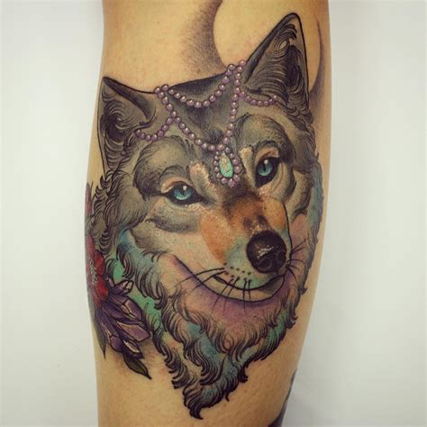 neo traditional wolf tattoo wolf neo traditional