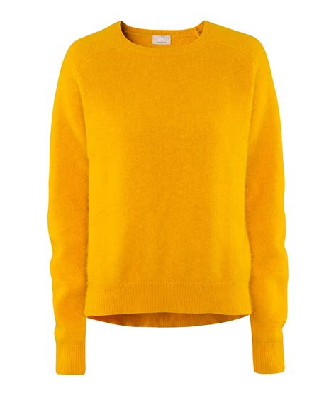 h m knitted jumper in yellow lyst
