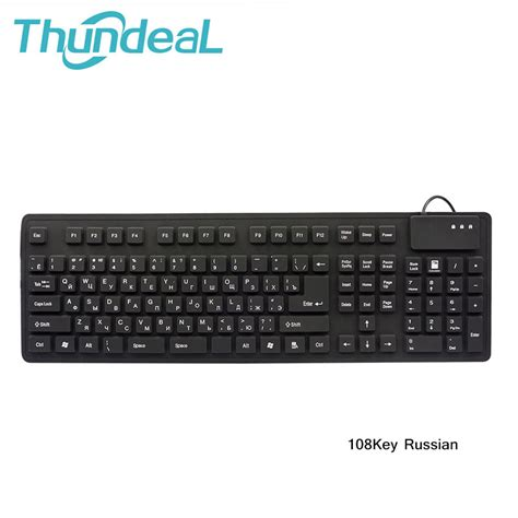 Keyboard Otg 108keys keyboards black usb wired russian letter silicon portable keyboard teclado layout