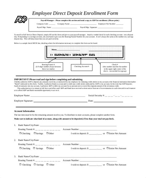 employee direct deposit form template sle direct deposit forms 10 free documents in pdf