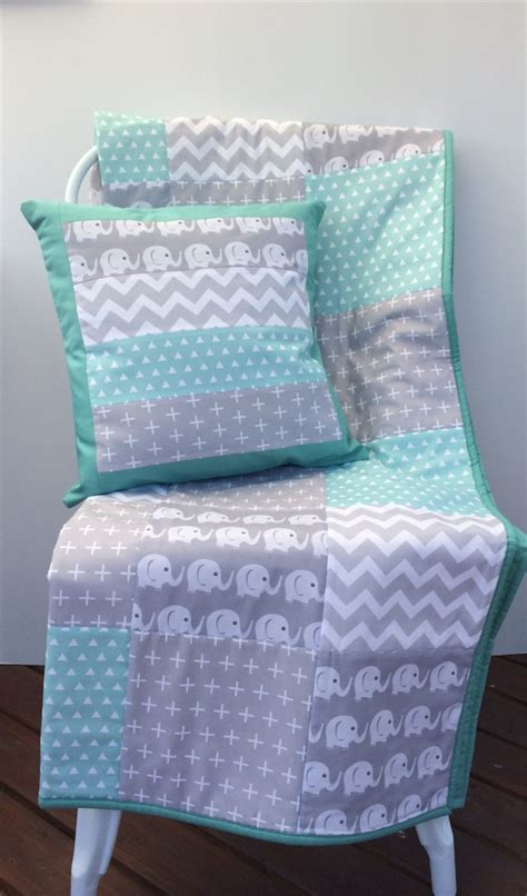 Patchwork Cot Quilts - baby cot patchwork quilt w mint and grey elephant pattern