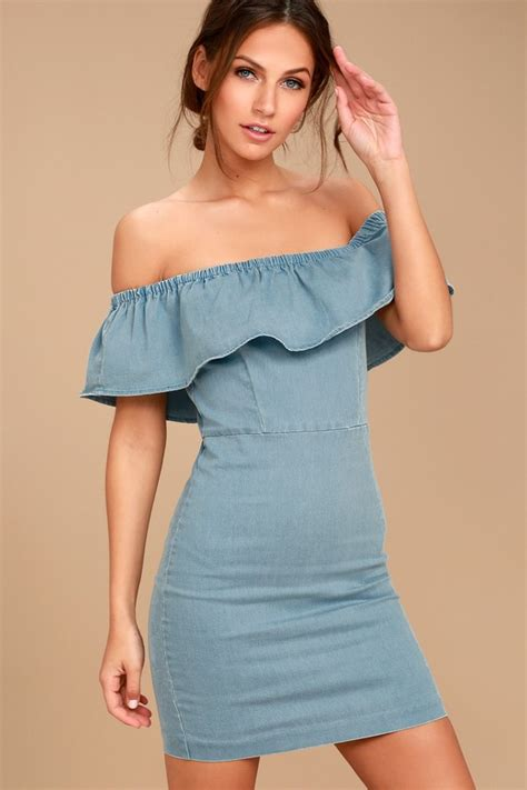 Shoulder Denim Dress Light Blue Blue light blue denim dress the shoulder dress ots dress