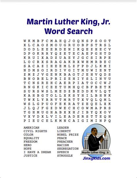 Mlk Word Search Printable