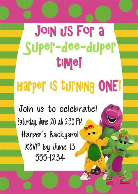 Free Printable Barney Birthday Party Invitations Home Party Ideas Friends Themed Invitation Template