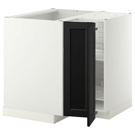 Ikea Corner Cabinet Kitchen Metod Corner Base Cabinet With Carousel White Laxarby Black Brown 88x88 Cm Ikea
