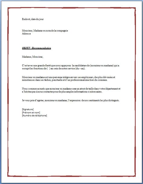 Letter Of Application Lettre De Reference Exle