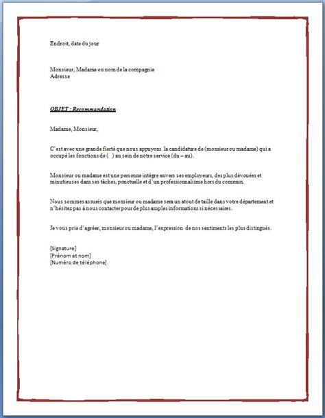 Exemple Lettre De Recommandation Pour Un Stage Modele De Lettre De Recommandation Pour Etudiant