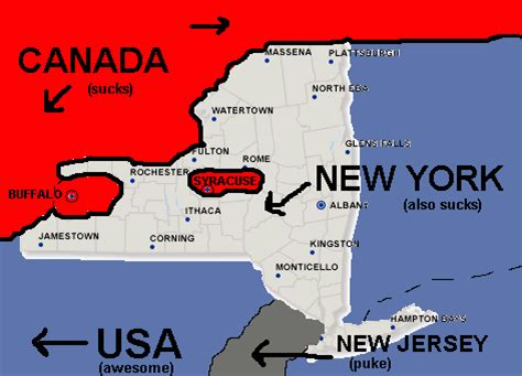 map of new york state and canada canada new york map