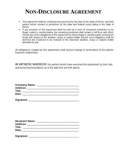 template nda non disclosure agreement template cyberuse