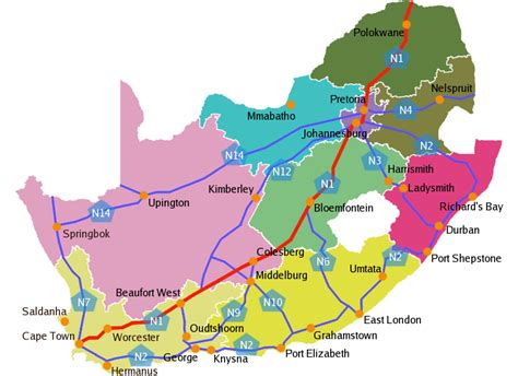 printable road maps south africa road map of south africa how not to get lost