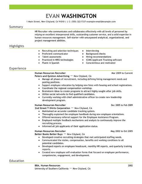 Sample Recruiting Resume – Recruiter Resume Templates   printable templates free