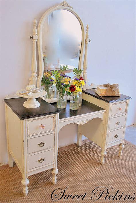 antique white vanity table before after refinished antique vanity