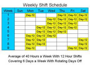 12 hour schedules for 6 days a week screenshot employee