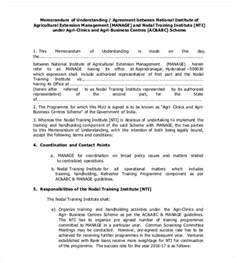 Memorandum Of Agreement Letter Sle Template Of Mou 28 Images Memorandum Of Understanding Template 9 Free Memorandum Of