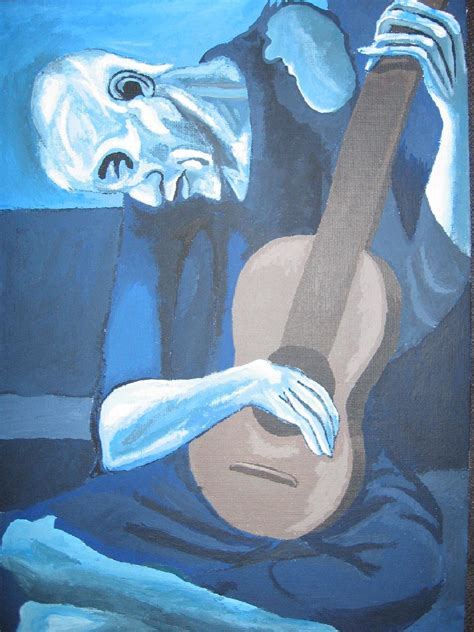picasso paintings blue period guitar the guitarist by xdarkshadowx on deviantart