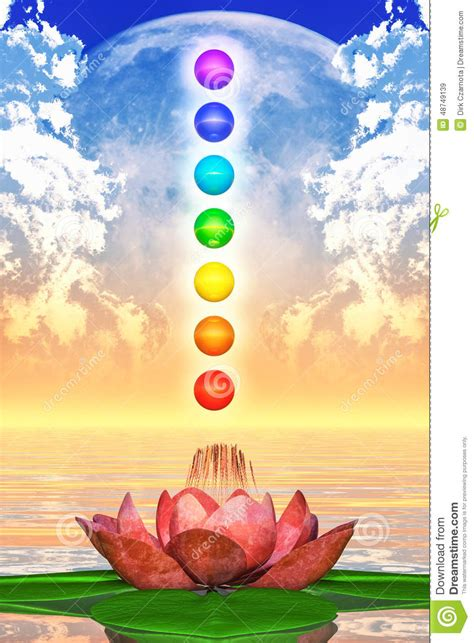 lotus flower chakra sacred lotus and chakra spheres stock illustration