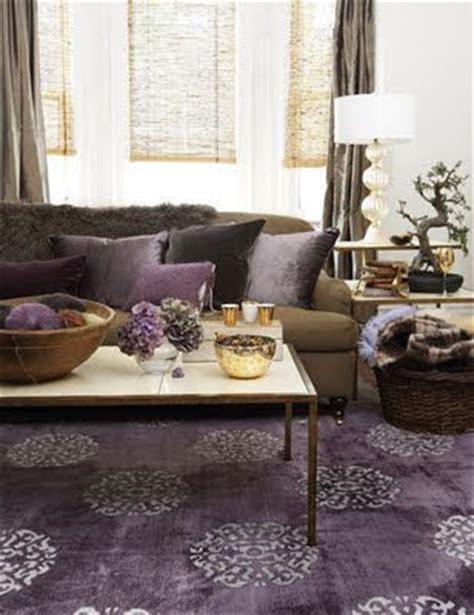 modern living room with purple rug chocolate brown sofa