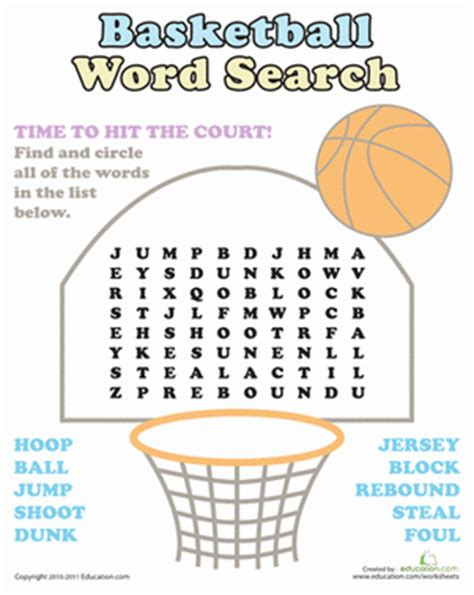 printable word search basketball basketball word search worksheet education com