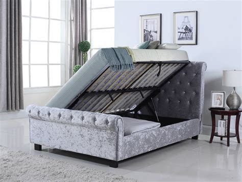 ottoman with bed whitford side ottoman silver crushed velvet bed frame
