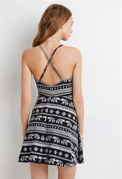 forever 21 elephant print playsuits in black lyst forever 21 elephant print cami dress in black lyst