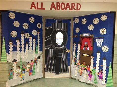 winter door decorating at school polar express bulletin