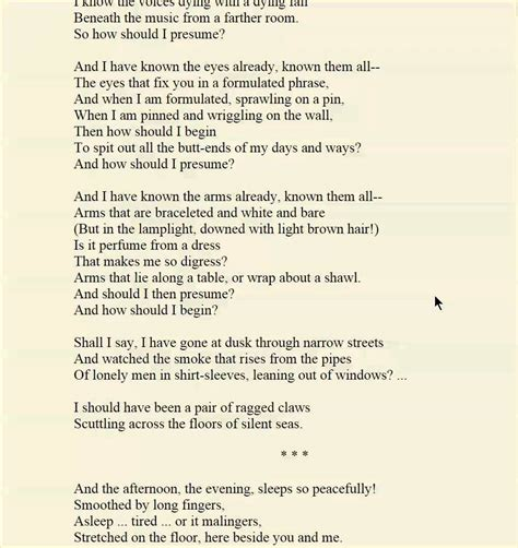 the lovesong of j alfred prufrock themes poetry the love song of j alfred prufrock ts eliot youtube