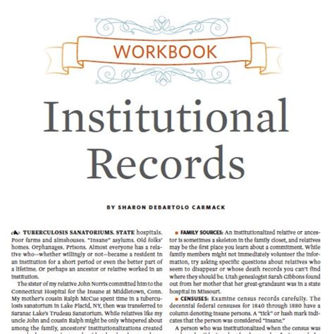 Institutional Record Genealogy Workbook Institutional Records