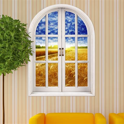 decorative window stickers for home cornfield view pag 3d artificial window 3d wall decals
