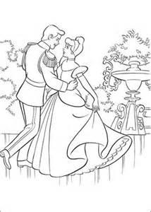 printable version of cinderella the prince is dancing with cinderella coloring page free