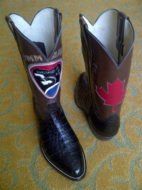 chris hadfield reveals custom cowboy boots for calgary