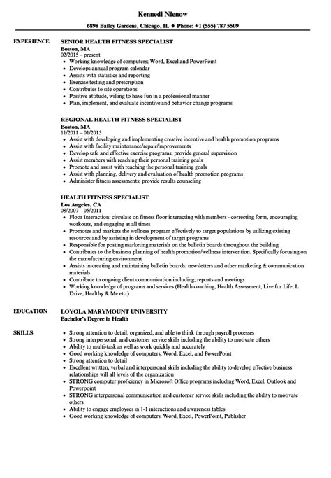 Health Fitness Specialist Cover Letter by Health Fitness Specialist Sle Resume Executive Resume Template Personal Assistant Resume