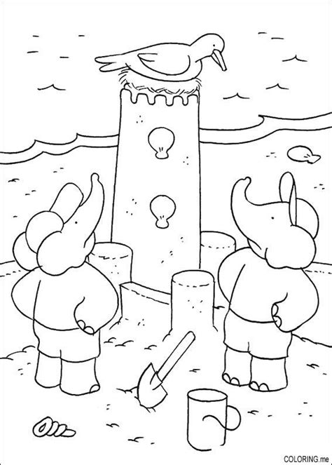 coloring page babar pom and alexandre made a sand