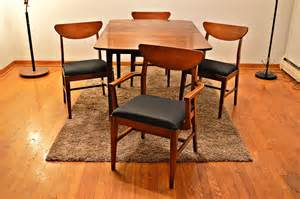 mid century style dining set table and 4 chairs