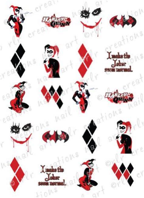 batman tattoo transfers 20 nail transfer decals dc comics harley quinn batman