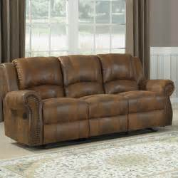 Sectional Recliner Sofas Microfiber Homelegance Quinn Reclining Sofa In Brown Microfiber Beyond Stores