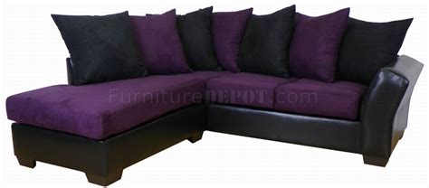 eggplant fabric black bicast modern sectional sofa