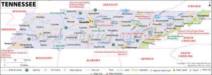 map of and tennessee tennessee map showing the major travel attractions