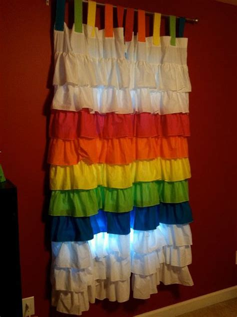 rainbow curtain ruffle rainbow curtains movies pinterest