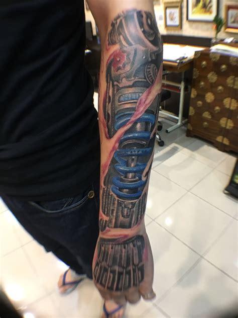 machine arm tattoo mechanical machine arm in progress by michael chan