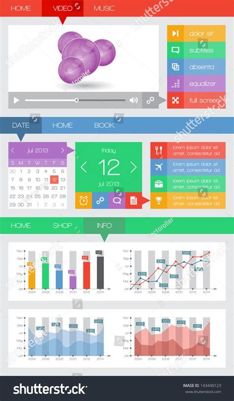ui design elements vector ui infographics web elements including flat stock vector