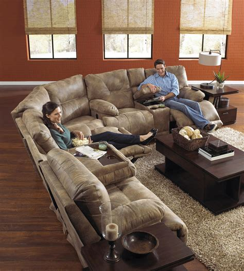 6 seat sectional sofa power 6 seat quot lay flat quot reclining sectional seating by