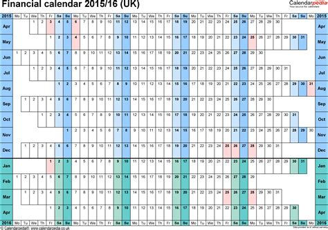 financial calendar template financial calendars 2015 16 uk in microsoft excel format