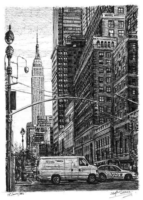 libro new york drawings street scene of 34th street new york original drawings prints and limited editions by stephen